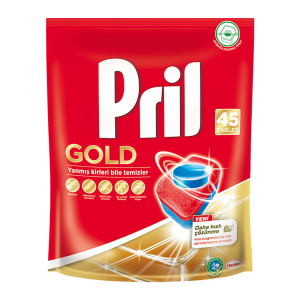 قرص ماشین ظرفشویی پریل pril مدل GOLD بسته 45 عددی
